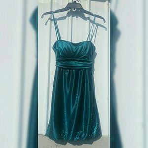 Teal sparkly junior's midlength dress